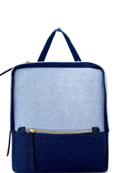 Two-Tone Denim Mult-Pocket Boxy Fashion Backpack