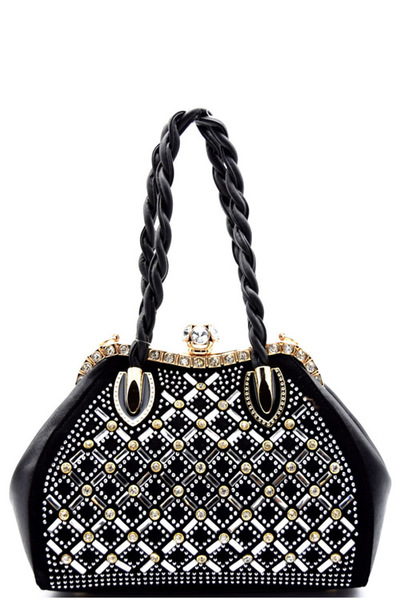Rhinestone Embellished Jewel-top Frame Braided Satchel