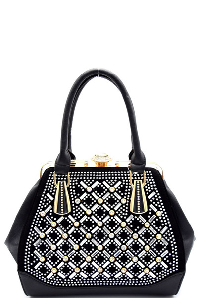 Rhinestone Embellished Jewel-top Frame Satchel