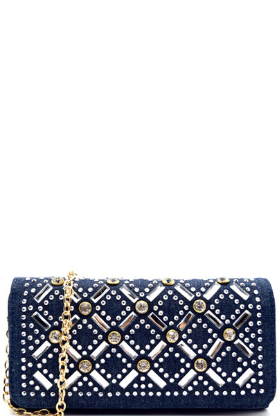 Rhinestone Embellished Trifold Wallet Cross Body