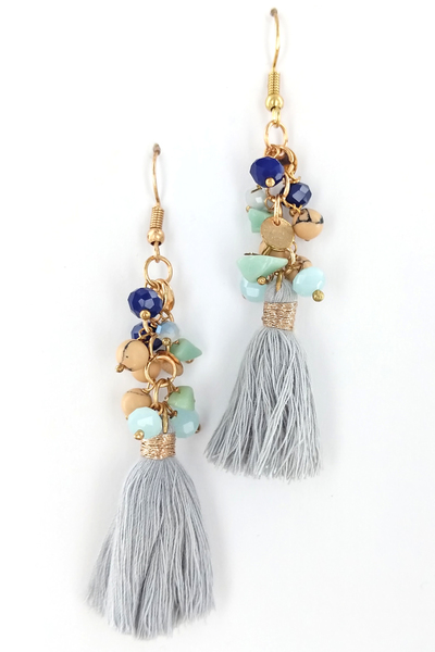 CUTE STONES AND FRINGED EARRINGS