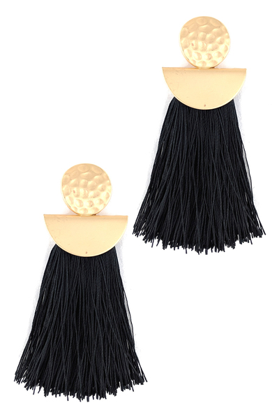 Matte Gold Tassel Earrings