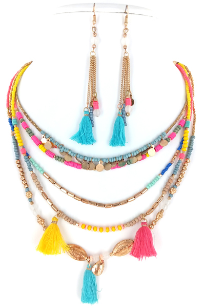 Multiple Chain Tassel Necklace