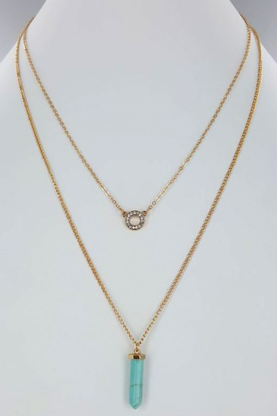 Double Chain Natural Stone Necklace