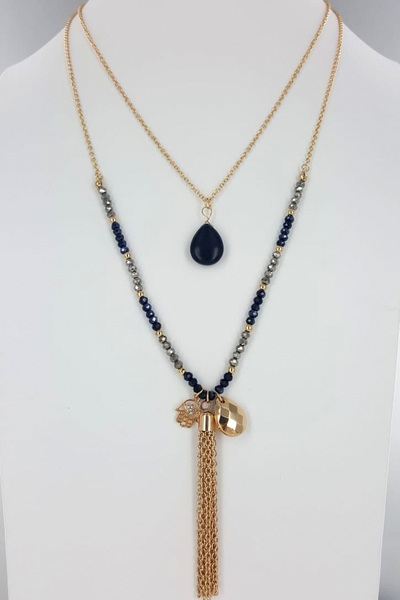 Gold Double Chain Necklace with Charms