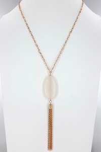 Oval Pendent With Tassel Necklace