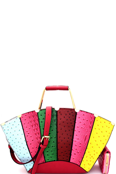 Ostrich Embossed Color Block Patchwork Satchel Wallet SET