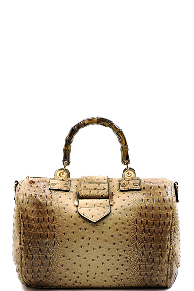 Ostrich Bamboo Top Handle Satchel