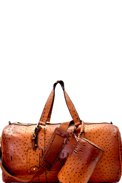 Ostrich Print Embossed 2 in 1 Weekender Duffel Bag