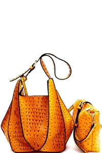 Ostrich Print Embossed 2 in 1 Hobo 2 Way