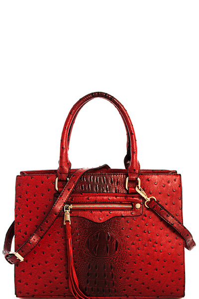 2in1 Modern Croco Pattern Satchel with Matching Wallet