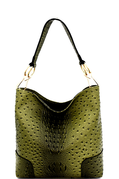 Ostrich Print Embossed Side Ring Large Hooked Hobo