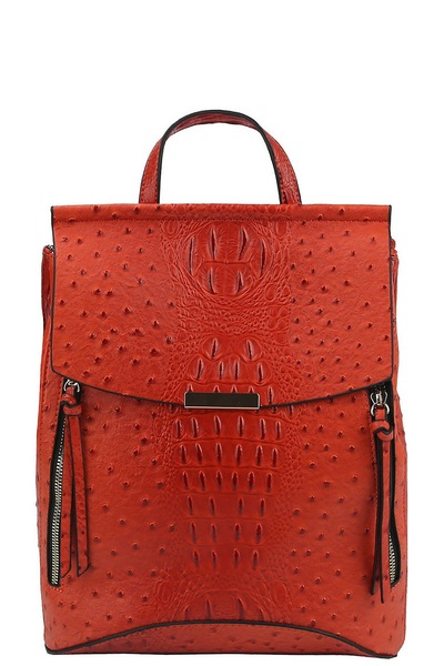 Ostrich Croc Convertible Backpack