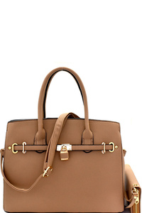 Padlock Accent Oversize Structured Satchel SET
