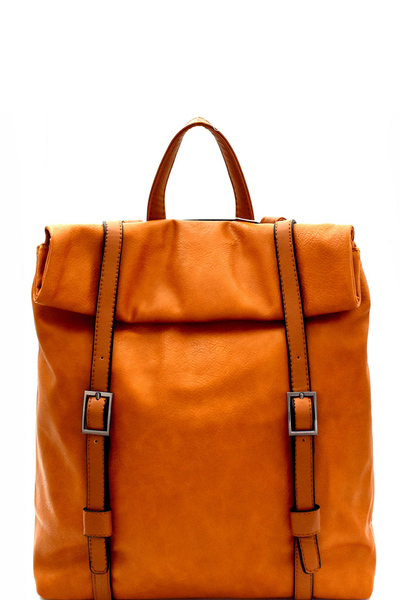 Two-Tone Belted Roll-Up Flap Backpack
