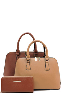 3in1 Two Color Fashion Domed Satchel with Long Strap