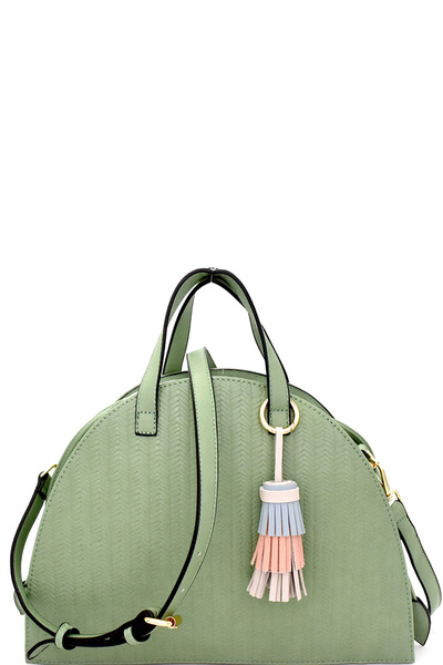 Embossed Chevron Drawstring Dome Satchel