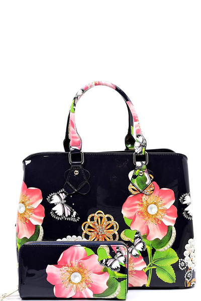 Glossy Flower Printed 2-in-1 Satchel