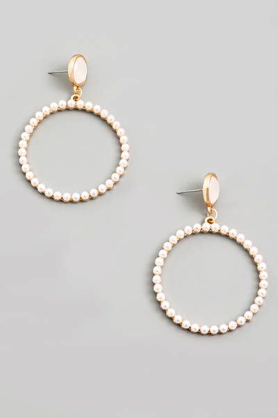 Pearl Bead Circle Hoop Drop Earrings