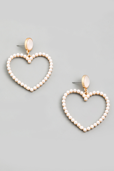Pearl Beaded Heart Drop Earrings