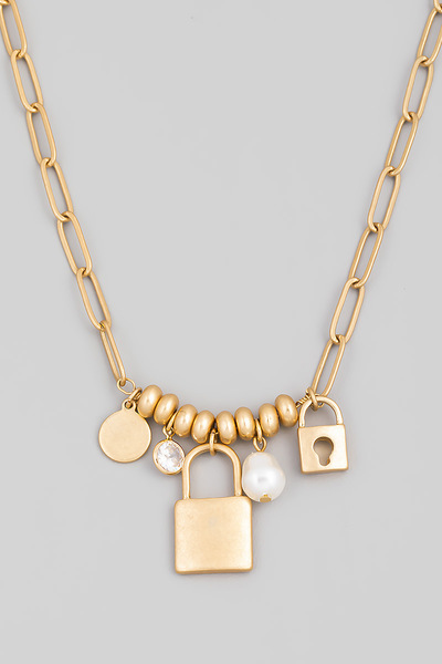 Chain Link Padlock Charm Necklace