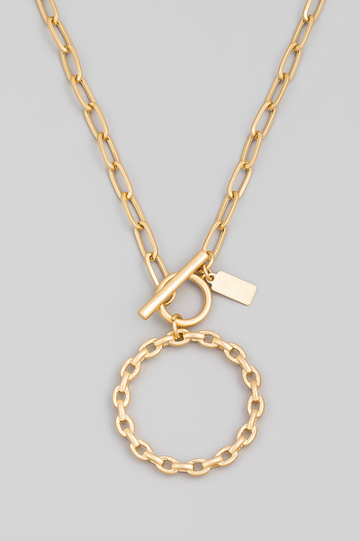 Toggle Chain Circle Chain Pendant Necklace