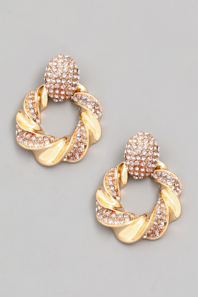 Rhinestone Twist Hoop Drop Earrings