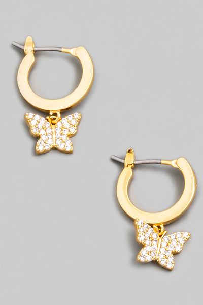 Pave Butterfly Huggie Drop Earrings