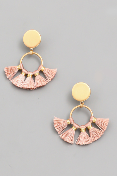 Circle Tassel Fan Drop Earrings