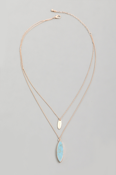 Layered Oval Stone Pendant Necklace