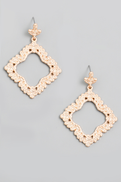 Textured Matte Square Drop Earrings