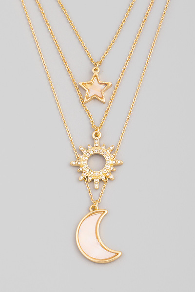 Dainty Layered Moon Pendant Necklace