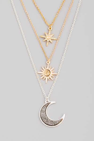 Layered Stone Crescent Moon Charm Necklace