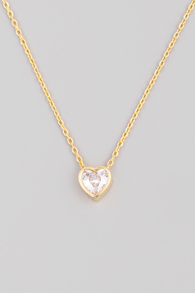 Mini Heart Rhinestone Pendant Necklace