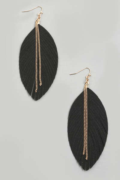 Chain Fringe Leaf Drop Earrings