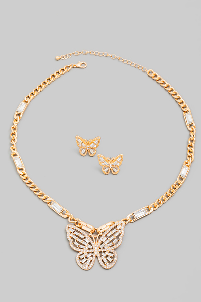 Rhinestone Butterfly Pendant Necklace Set