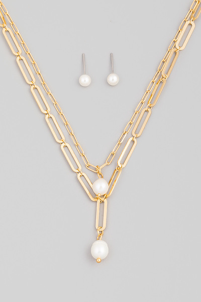 Chain Layered Pearl Pendant Necklace Set