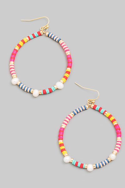 Striped Beaded Circle Drop Earrings
