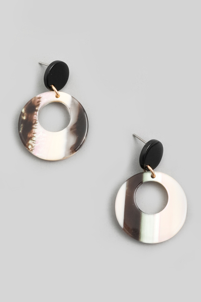 Mini Acetate Circle Drop Earrings