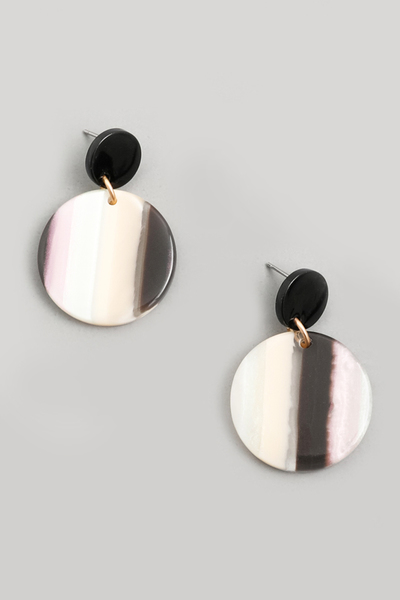 Mini Acetate Disc Drop Earrings