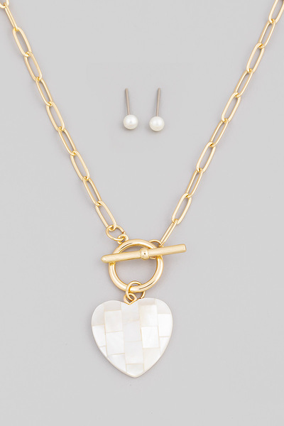 Opal Toggle Chain Heart Pendant Necklace Set