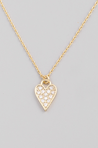 Pave Heart Pendant Necklace