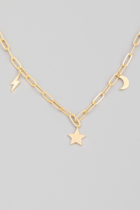 Chain Link Lightning Star Moon Charm Necklace