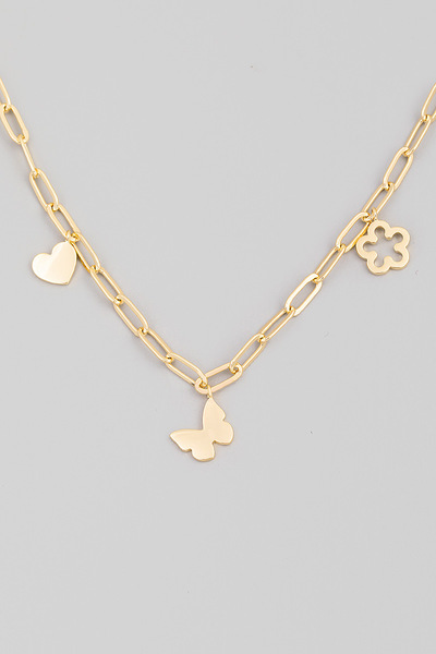 Heart Butterfly Flower Charm Chain Necklace
