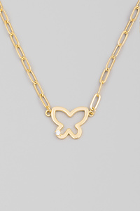 Chain Link Butterfly Cutout Pendant Necklace
