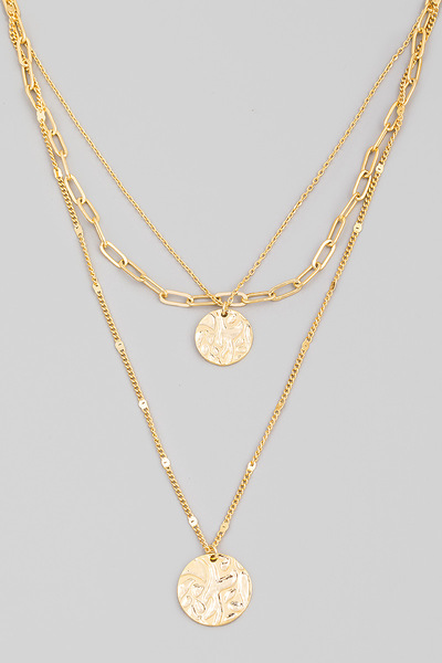 Dainty Layered Disc Pendant Necklace