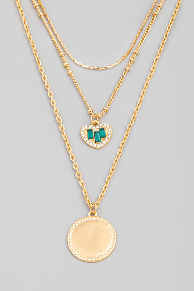 Layered Chain Heart Disc Pendant Necklace