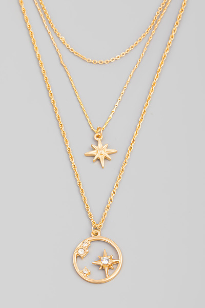 Layered North Star Circle Pendant Necklace