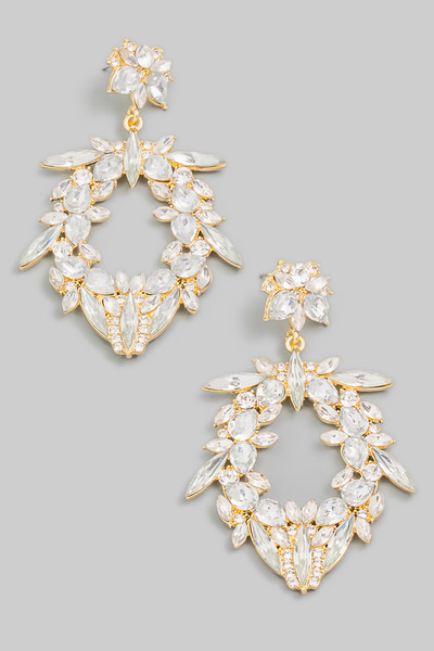 Floral Crystal Jewel Drop Earrings