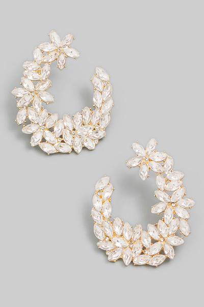 Floral Crystal Jewel Hoop Earrings